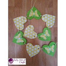 Handmade Heart Garland with Polka Dots and Butterflies - Salt Dough Decoration - Wall Hanger - Green, White and Yellow Rustic Home Decor