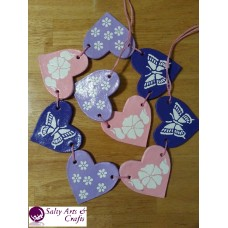 Handmade Heart Garland with Flowers and Butterflies - Salt Dough Decoration - Wall Hanger - Pink, White and Purple Rustic Home Decor