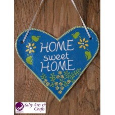 "Salt Dough Heart ""Home Sweet Home""- Handmade Home Decor - Blue and Yellow Rustic Wall Decoration with Flowers"