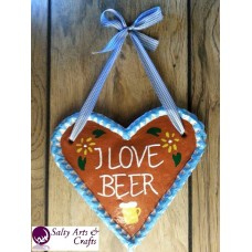 Heart Decor - Heart Wall Hanging - Heart Wall Decor - Beer Heart Decor - Beer Heart Rustic Decor - Salt Dough Heart - Octoberfest Decor