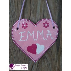 Customizable Heart Decor - Heart Wall Hanging - Heart Wall Decor - Pink Heart Decor - Pink Customizable Hanger - Salt Dough Heart - Customizable Name Decor