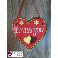 Heart Decor - Heart Wall Hanging - Heart Wall Decor - Red Heart Decor - Red Heart Rustic Decor - Salt Dough Heart - I miss you Decor