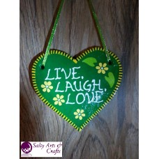 Heart Decor - Heart Wall Hanging - Heart Wall Decor - Green Heart Decor - Green Heart Rustic Decor - Salt Dough Heart - Live Laugh Love