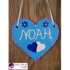 Customizable Heart Decor - Heart Wall Hanging - Heart Wall Decor - Blue Heart Decor - Blue Customizable Hanger - Salt Dough Heart - Customizable Name Decor