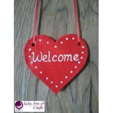 Heart Decor - Heart Wall Hanging - Heart Wall Decor - Red Heart Decor - Red Heart Rustic Decor - Salt Dough Heart - Welcome Decor