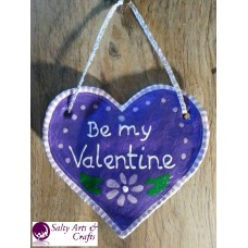 Heart Decor - Heart Wall Hanging - Heart Wall Decor - Purple Heart Decor - Purple Heart Rustic Decor - Salt Dough Heart - Valentine Decor