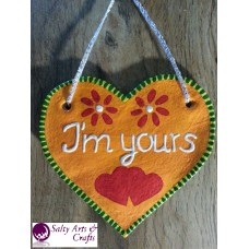 Heart Decor - Heart Wall Hanging - Heart Wall Decor - Orange Heart Decor - Orange Heart Rustic Decor - Salt Dough Heart - Octoberfest Decor