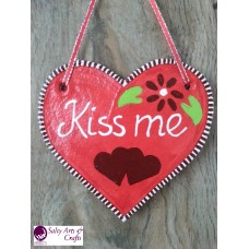 Heart Decor - Heart Wall Hanging - Heart Wall Decor - Red Heart Decor - Red Heart Rustic Decor - Salt Dough Heart - Kiss me Heart Decor