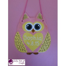 Customizable Owl Decor - Owl Wall Hanging - Owl Wall Decor - Pink and Yellow Heart Decor - Pink and Yellow Customizable Hanger - Salt Dough Owl - Customizable Name Decor