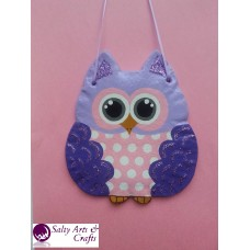 Owl Decor - Owl Wall Hanging - Owl Wall Decor - Purple Owl Decor - Purple Owl Nursery Decor - Polka Dot Owl - Wall Hanging - Salt Dough
