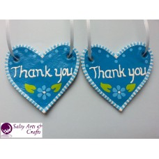 "Handmade Hearts ""Thank you"" -Rustic Salt Dough Decoration- Ornament Set - 2 Blue Gift Hanger with Flower"