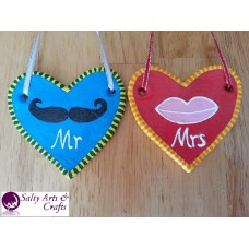 Handmade Hearts Mr and Mrs with Mustache and Lips -Rustic Salt Dough Wall Decoration- Set out of 2 in Blue and Red