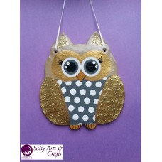 Owl Decor - Owl Wall Hanging - Owl Wall Decor - Gold Owl Decor - Gold Owl Nursery Decor - Polka Dot Owl - Wall Hanging - Salt Dough Hanger
