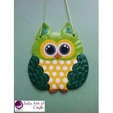 Owl Decor - Owl Wall Hanging - Owl Wall Decor - Green Owl Decor - Green Owl Nursery Decor - Polka Dot Owl - Wall Hanging - Salt Dough Hanger