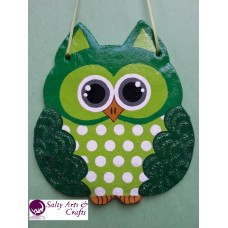 Owl Decor - Owl Wall Hanging - Owl Wall Decor - Green Owl Decor - Green Owl Nursery Decor - Polka Dot Owl - Wall Hanging - Salt Dough