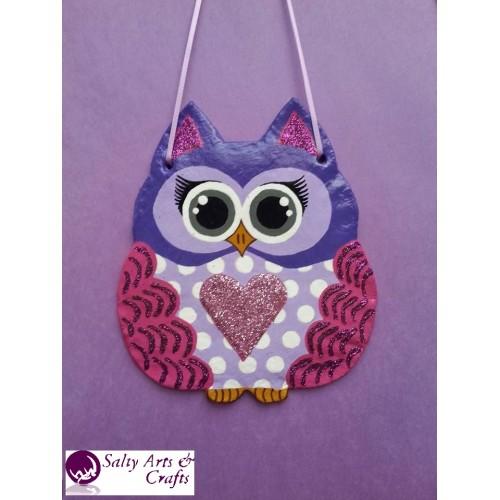 Owl Decor Wall Hanging Purple