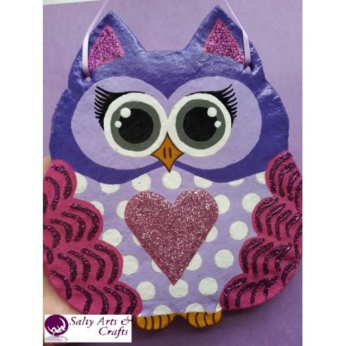 Owl Decor Wall Hanging Purple Nursery Polka