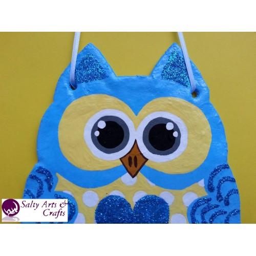 Owl Decor Wall Hanging Blue