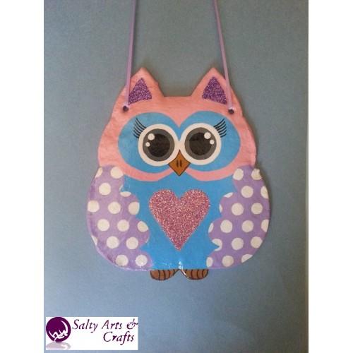 Owl Decor Wall Hanging Pink Nursery Polka