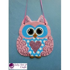 Owl Decor - Owl Wall Hanging - Owl Wall Decor - Pink Owl Decor - Pink Owl Nursery Decor - Polka Dot Owl - Wall Hanging - Salt Dough Hanger