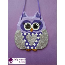 Owl Decor - Owl Wall Hanging - Owl Wall Decor - Silver Owl Decor - Silver Nursery Decor - Polka Dot Owl - Wall Hanging - Salt Dough Hanger