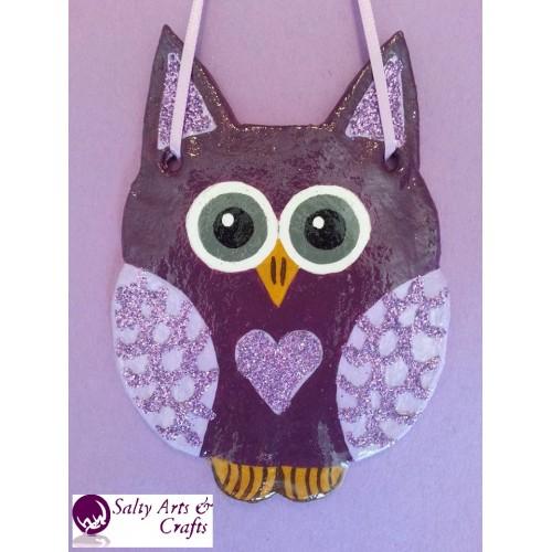 Owl Decor Wall Hanging Purple Nursery