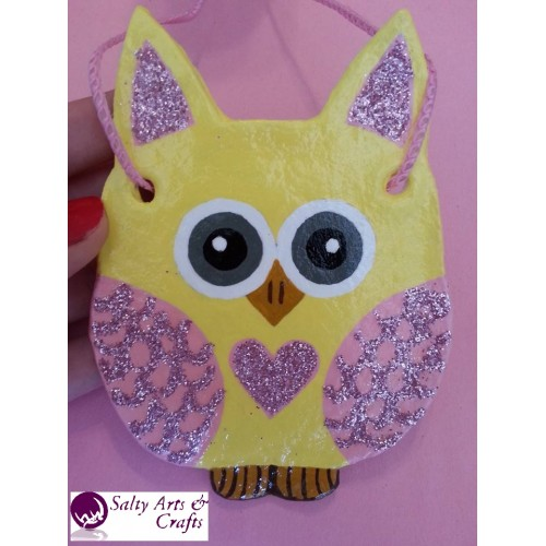 Owl Decor - Owl Wall Hanging - Owl Wall Decor - Pink and Yellow Owl ...