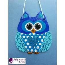 Owl Decor - Owl Wall Hanging - Owl Wall Decor - Blue Owl Decor - Blue Owl Nursery Decor - Polka Dot Owl - Wall Hanging - Salt Dough Hanger