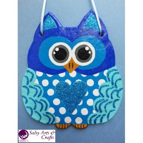Owl Decor Wall Hanging Blue Nursery Polka
